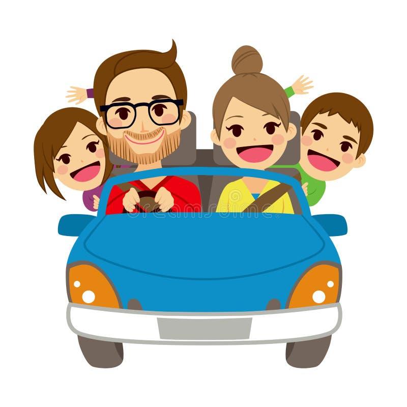 Ευτυχές οικογενειακό διακινούμενο αυτοκίνητο διανυσματική απεικόνιση
