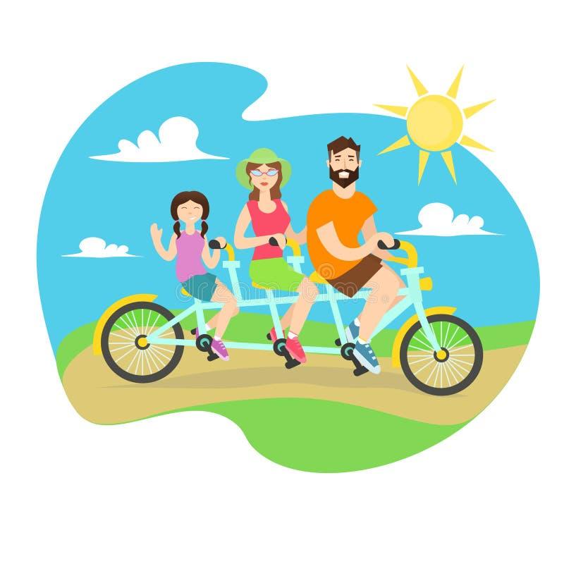 Ευτυχές οικογενειακό διαδοχικό ποδήλατο διάνυσμα απεικόνιση αποθεμάτων