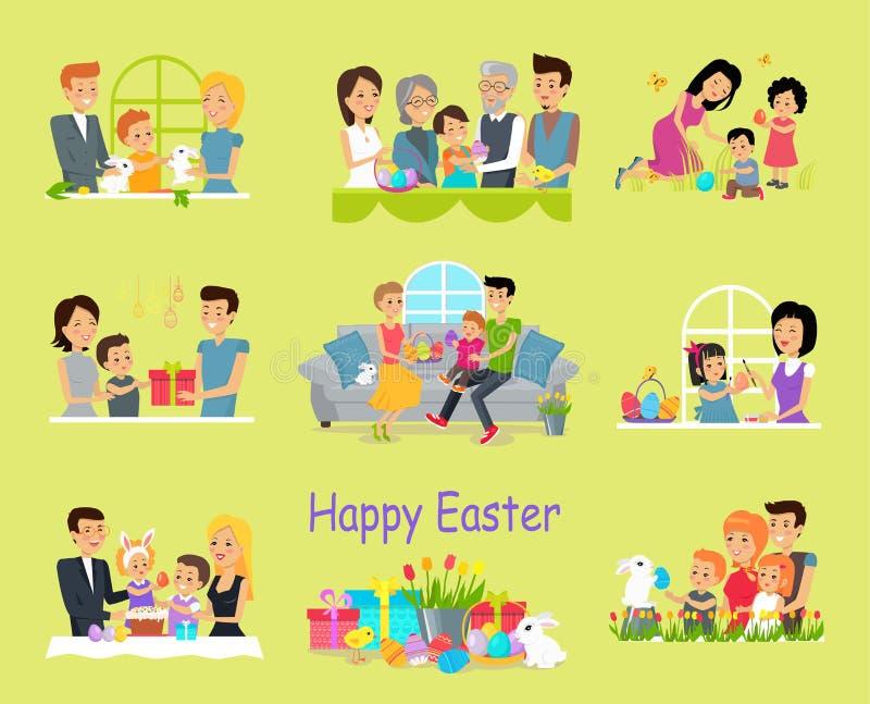 Ευτυχές οικογενειακό καθορισμένο σχέδιο Πάσχας απεικόνιση αποθεμάτων