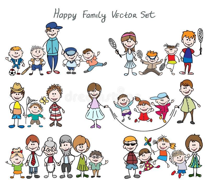 Ευτυχές οικογενειακό σκίτσο Doodle απεικόνιση αποθεμάτων