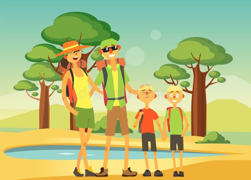Ευτυχές οικογενειακό ταξίδι και επισκεμμένος, χαμογελώντας μητέρα, πατέρας και δύο γιοι τους που θέτουν στο διάνυσμα υποβάθρου σα ελεύθερη απεικόνιση δικαιώματος