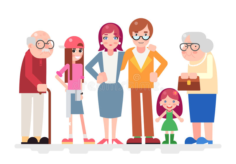 Ευτυχές οικογενειακών χαρακτήρων αγάπης μαζί παιδιών επίπεδο σχέδιο εικονιδίων εφήβων ενήλικο παλαιό απεικόνιση αποθεμάτων