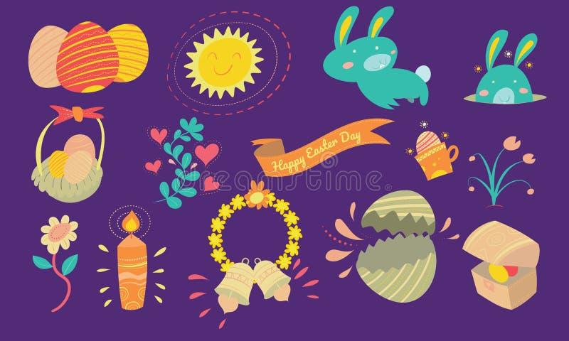 Ευτυχές Πάσχα και διακοσμητικά στοιχεία με το χαριτωμένο λαγουδάκι, αυγό Πάσχας ελεύθερη απεικόνιση δικαιώματος