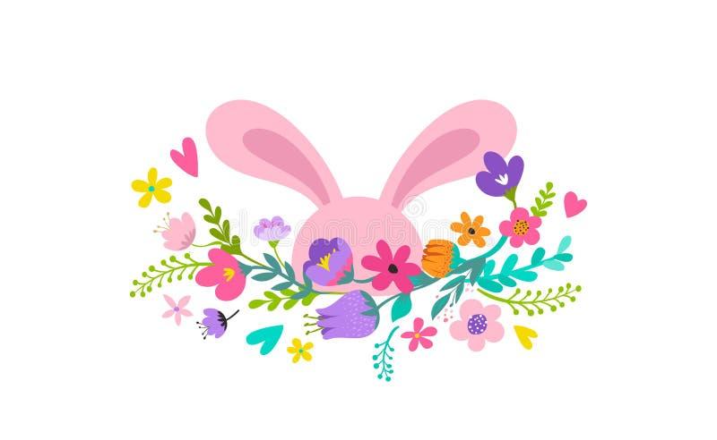 Ευτυχές Πάσχα, λαγουδάκι με το σχέδιο λουλουδιών Πώληση Πάσχας και έννοια διακοπών ευχετήριων καρτών ελεύθερη απεικόνιση δικαιώματος