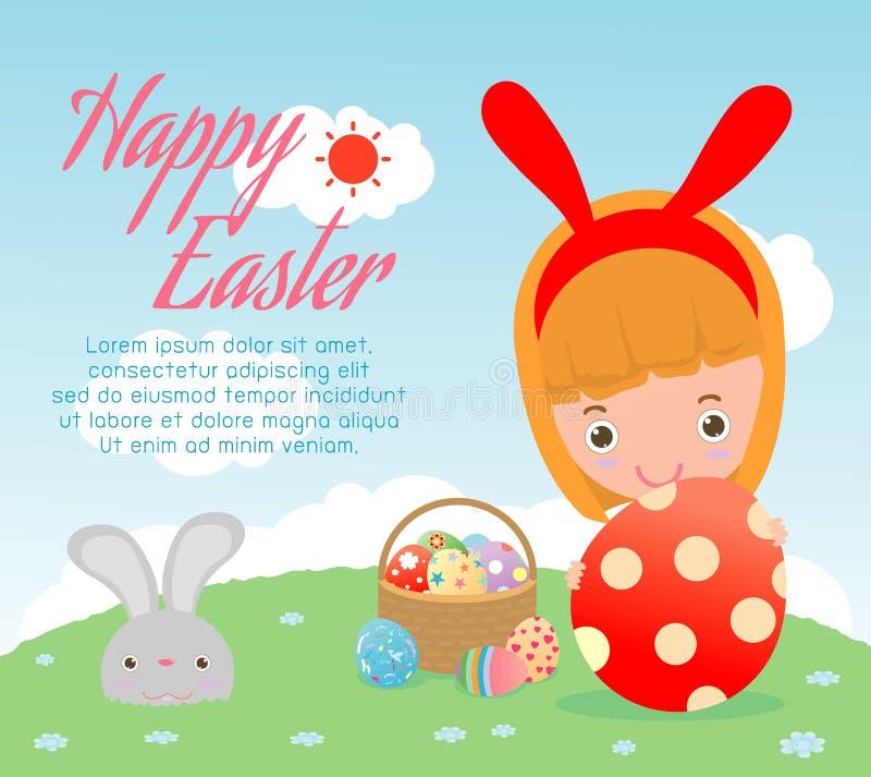 Ευτυχές Πάσχα, παιδιά και αυγά Πάσχας στο υπόβαθρο Καλάθι με το κουνέλι και τα αυγά Πάσχας, παιδί και αυγά Πάσχας, αυγά Πάσχας Ευ διανυσματική απεικόνιση