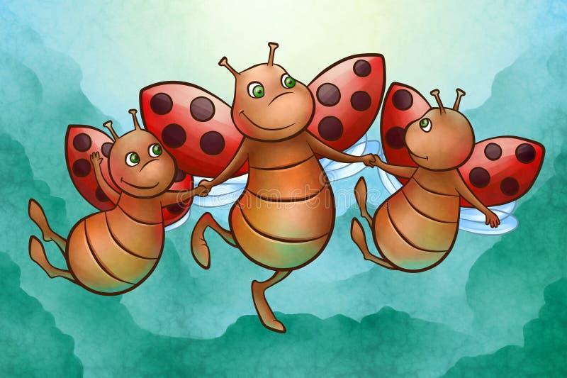 Ευτυχές πέταγμα ladybug ελεύθερη απεικόνιση δικαιώματος
