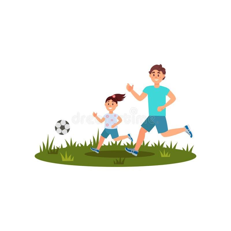 Ευτυχές παίζοντας ποδόσφαιρο πατέρων με την κόρη του στον πράσινο χορτοτάπητα Οικογενειακός χρόνος Θερινή υπαίθρια δραστηριότητα  ελεύθερη απεικόνιση δικαιώματος