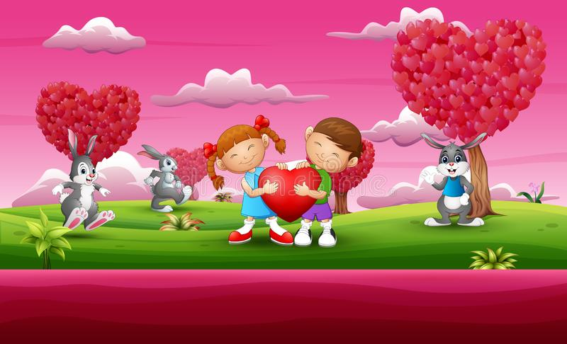 Ευτυχές παιδί ζευγών κινούμενων σχεδίων που κρατά μια καρδιά με πολύ κουνέλι στο ρόδινο κήπο απεικόνιση αποθεμάτων