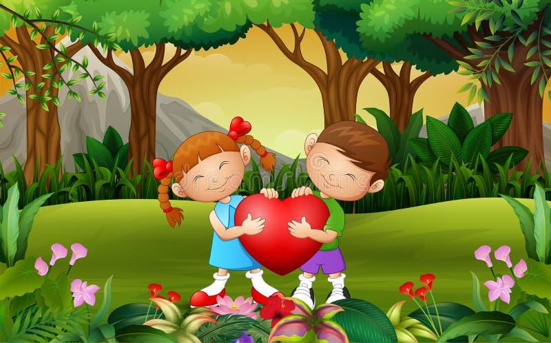 Ευτυχές παιδί ζευγών κινούμενων σχεδίων που κρατά μια καρδιά στο πάρκο απεικόνιση αποθεμάτων