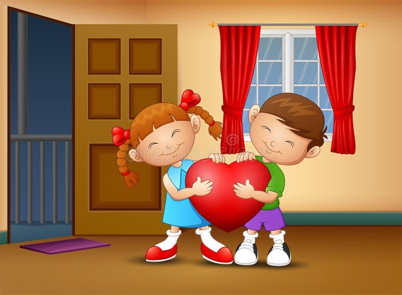 Ευτυχές παιδί ζευγών κινούμενων σχεδίων που κρατά μια καρδιά διανυσματική απεικόνιση