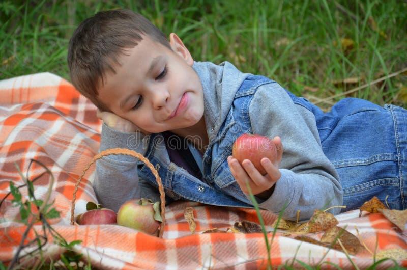 Ευτυχές παιδί που τρώει τα φρούτα ευτυχές χαριτωμένο αγόρι παιδιών που τρώει ένα μήλο βρίσκεται σε ένα coverlet σε ένα πάρκο φθιν στοκ εικόνα