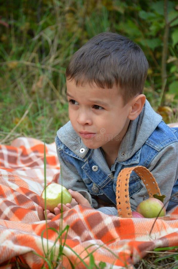 Ευτυχές παιδί που τρώει τα φρούτα ευτυχές χαριτωμένο αγόρι παιδιών που τρώει ένα μήλο βρίσκεται σε ένα coverlet σε ένα πάρκο φθιν στοκ φωτογραφία με δικαίωμα ελεύθερης χρήσης
