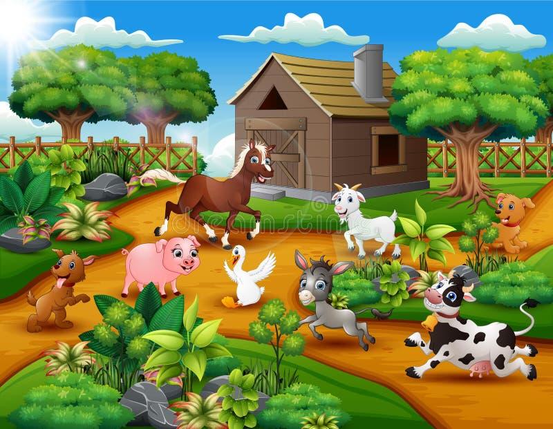 Ευτυχές παιχνίδι ζώων αγροκτημάτων έξω από το κλουβί ελεύθερη απεικόνιση δικαιώματος