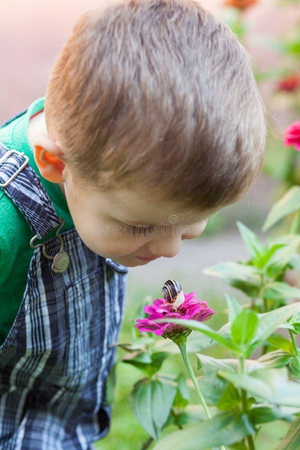 Ευτυχές παιχνίδι μικρών παιδιών στο πάρκο με το σαλιγκάρι στο χρόνο ημέρας κατσίκι που παρατηρεί το &s στοκ εικόνα με δικαίωμα ελεύθερης χρήσης
