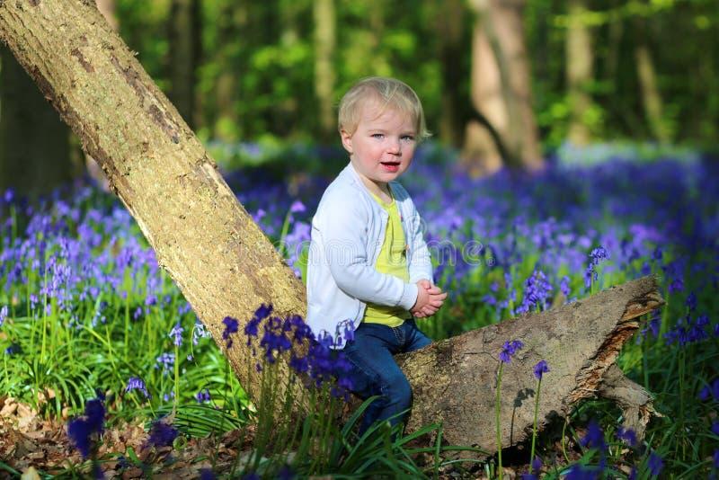 Ευτυχές παιχνίδι μικρών κοριτσιών στο δάσος bluebells στοκ φωτογραφίες