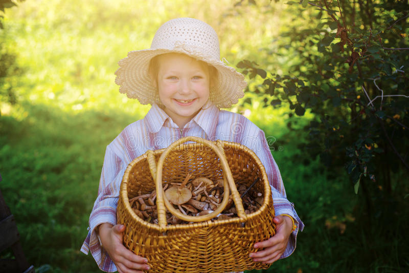 Ευτυχές παιδί σε μια ηλιόλουστη ημέρα φθινοπώρου με τα μανιτάρια στοκ φωτογραφία με δικαίωμα ελεύθερης χρήσης