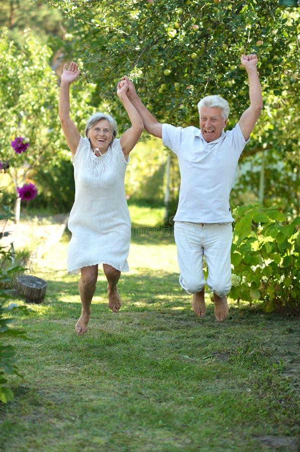 Ευτυχές παλαιότερο ζεύγος που έχει τη διασκέδαση προς το τέλος του πάρκου άνοιξη στοκ εικόνα