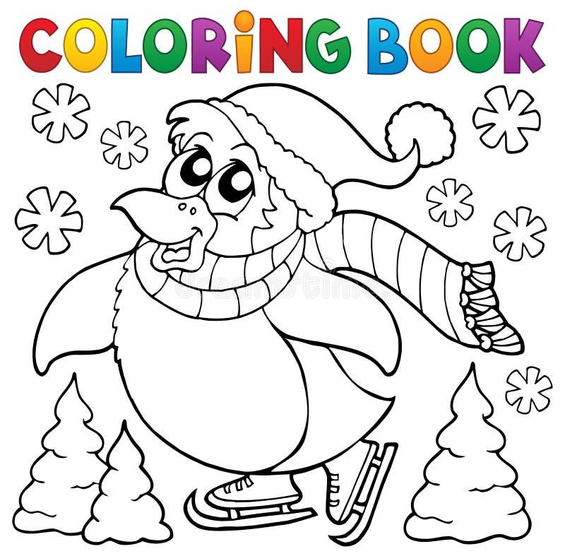 Ευτυχές πατινάζ βιβλίων χρωματισμού penguin ελεύθερη απεικόνιση δικαιώματος