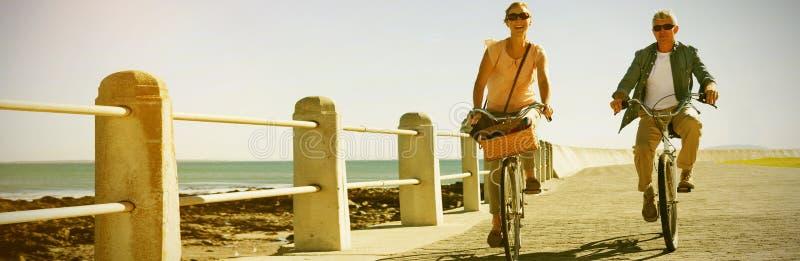 Ευτυχές περιστασιακό ζεύγος που πηγαίνει για έναν γύρο ποδηλάτων στην αποβάθρα στοκ εικόνες με δικαίωμα ελεύθερης χρήσης