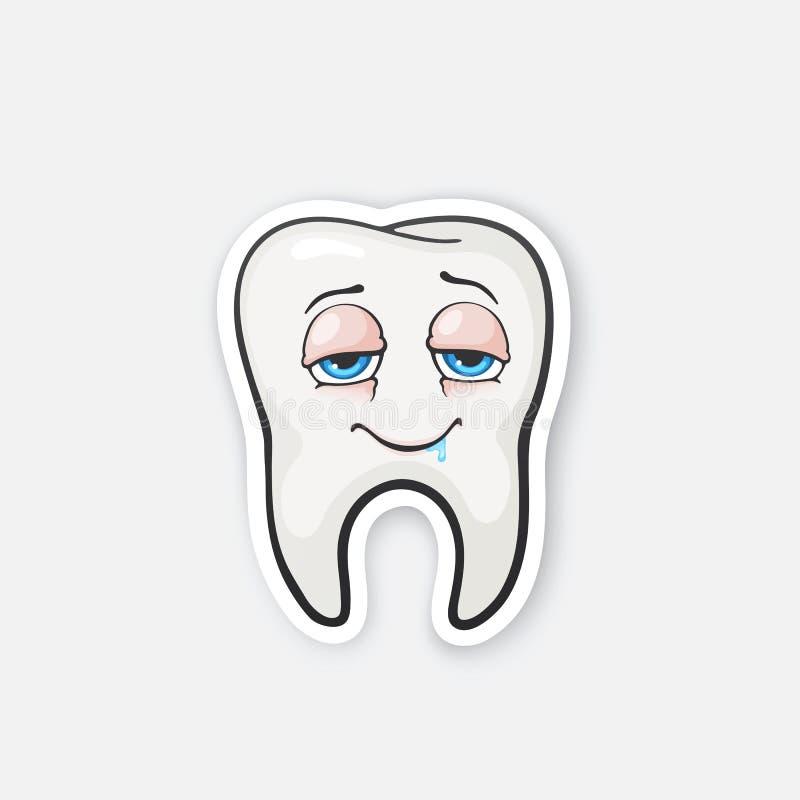 Ευτυχές πιωμένο δόντι αυτοκόλλητων ετικεττών με τα μάτια ελεύθερη απεικόνιση δικαιώματος