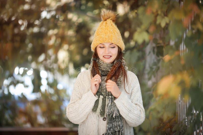 Ευτυχές πορτρέτο τρόπου ζωής ενός όμορφου νέου πρότυπου κοριτσιού με ένα χαμόγελο σε ένα θερμό μαντίλι φθινοπώρου στοκ φωτογραφίες με δικαίωμα ελεύθερης χρήσης