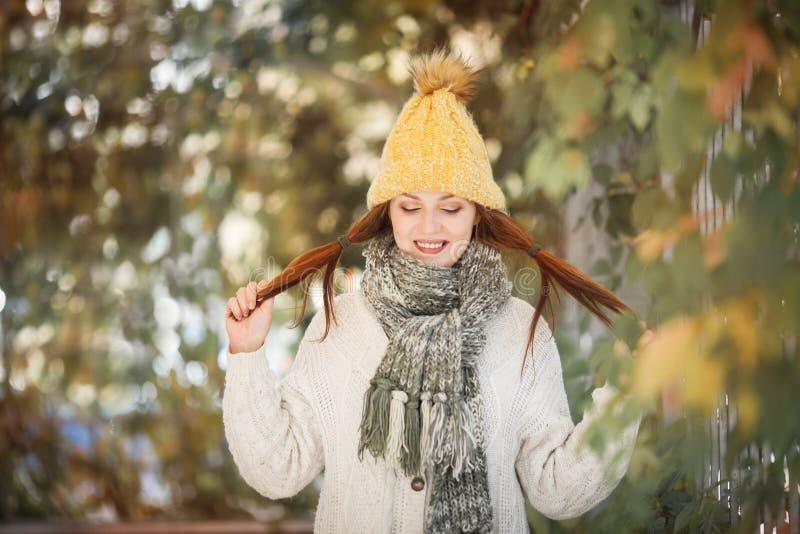 Ευτυχές πορτρέτο τρόπου ζωής ενός όμορφου νέου πρότυπου κοριτσιού με ένα χαμόγελο σε ένα θερμό μαντίλι φθινοπώρου στοκ φωτογραφία με δικαίωμα ελεύθερης χρήσης