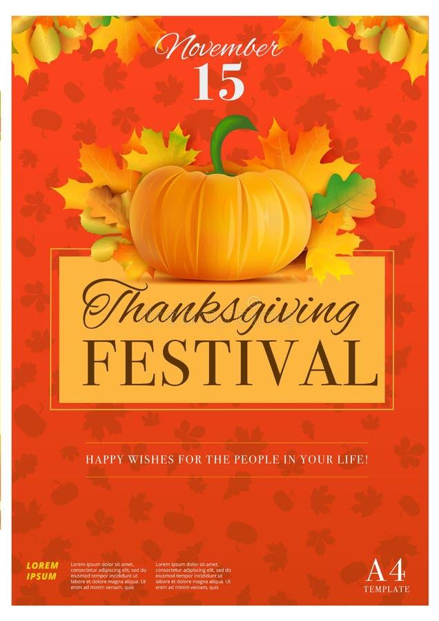 Ευτυχές πρότυπο αφισών ημέρας των ευχαριστιών A4 στο μέγεθος Διακοπές πτώσης διανυσματική απεικόνιση