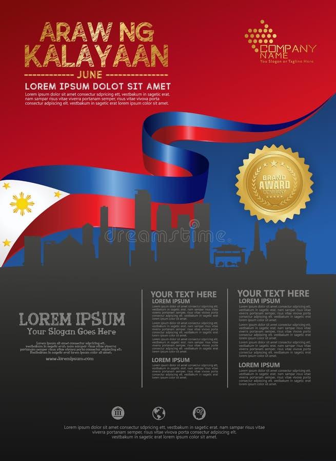 Ευτυχές πρότυπο υποβάθρου εθνικής μέρας των Φιλιππινών για ένα φυλλάδιο και ένα φυλλάδιο αφισών διανυσματική απεικόνιση