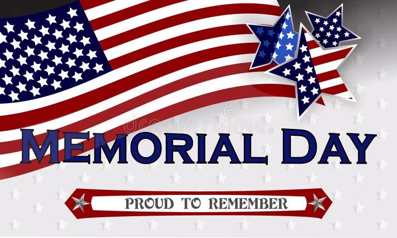 Ευτυχές πρότυπο υποβάθρου ημέρας μνήμης Αστέρια και αμερικανική σημαία έμβλημα πατριωτικό επίσης corel σύρετε το διάνυσμα απεικόν στοκ εικόνες