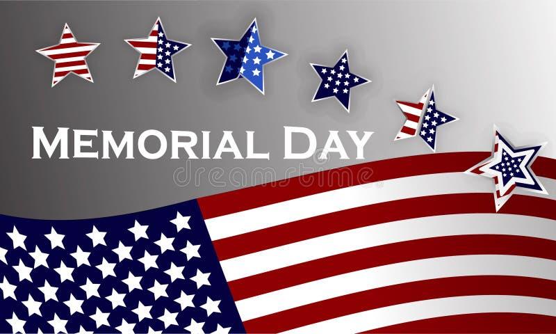 Ευτυχές πρότυπο υποβάθρου ημέρας μνήμης Αστέρια και αμερικανική σημαία έμβλημα πατριωτικό επίσης corel σύρετε το διάνυσμα απεικόν στοκ φωτογραφία με δικαίωμα ελεύθερης χρήσης