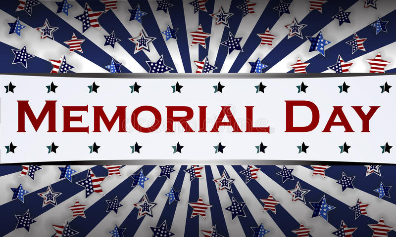 Ευτυχές πρότυπο υποβάθρου ημέρας μνήμης Αστέρια και αμερικανική σημαία έμβλημα πατριωτικό επίσης corel σύρετε το διάνυσμα απεικόν στοκ εικόνα