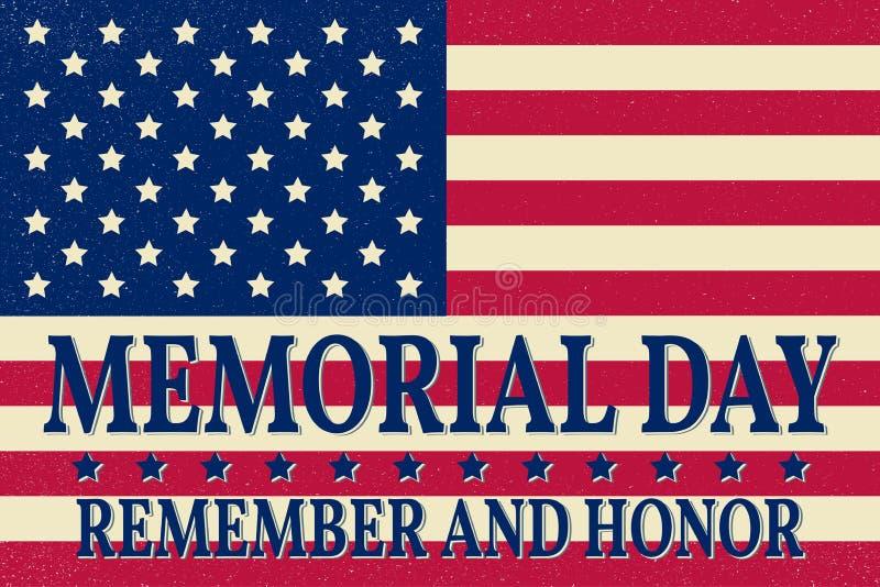 Ευτυχές πρότυπο υποβάθρου ημέρας μνήμης Ευτυχής αφίσα ημέρας μνήμης Θυμηθείτε και τιμή πάνω από τη αμερικανική σημαία έμβλημα πατ διανυσματική απεικόνιση