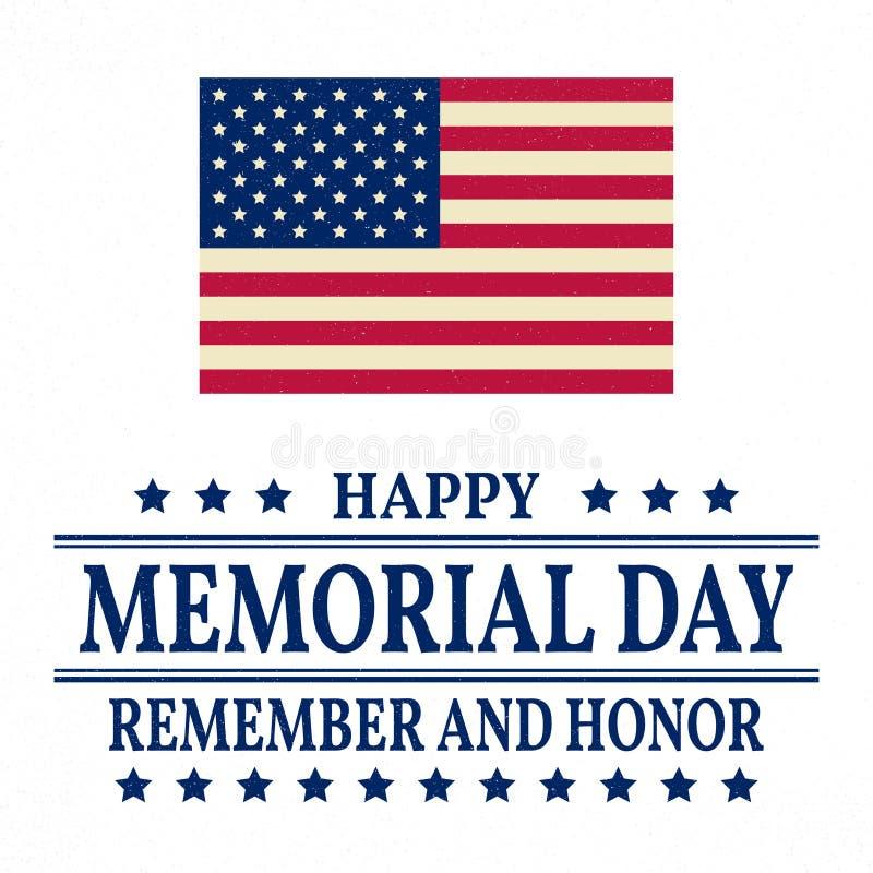 Ευτυχές πρότυπο υποβάθρου ημέρας μνήμης Ευτυχής αφίσα ημέρας μνήμης Θυμηθείτε και τιμήστε και αμερικανική σημαία έμβλημα πατριωτι απεικόνιση αποθεμάτων