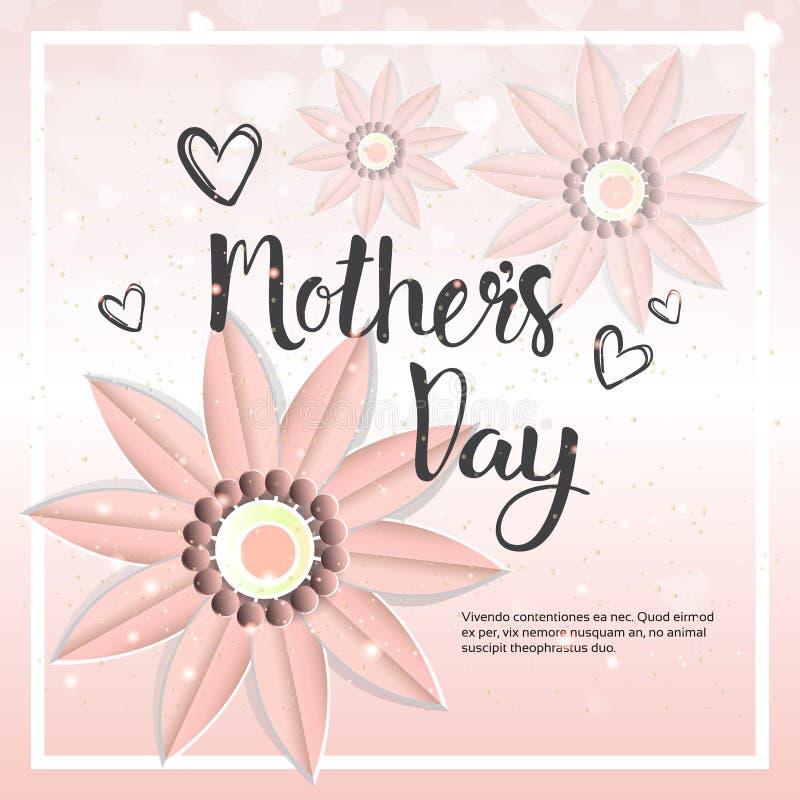 Ευτυχές πρότυπο υποβάθρου καρτών ημέρας μητέρων με τα λουλούδια και το διάστημα αντιγράφων διανυσματική απεικόνιση