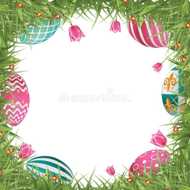 Ευτυχές πλαίσιο κυνηγιού αυγών Πάσχας με τη χλόη και τις τουλίπες ελεύθερη απεικόνιση δικαιώματος