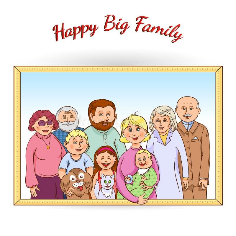 Ευτυχές πλαισιωμένο οικογένεια πορτρέτο διανυσματική απεικόνιση