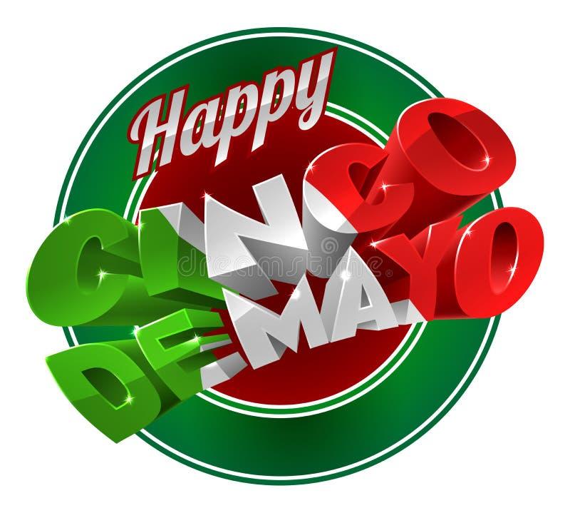 Ευτυχές σημάδι ετικετών Cinco de Mayo διανυσματική απεικόνιση