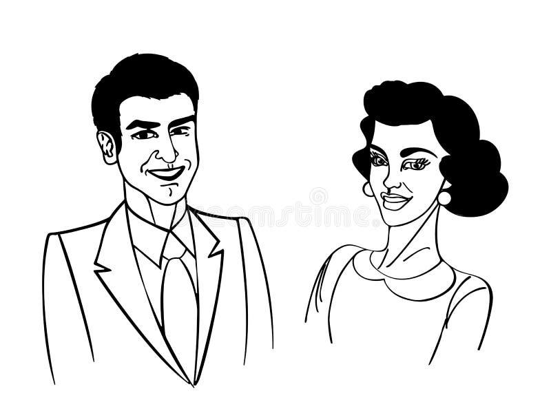 Ευτυχές σκίτσο Coupple Στοκ Εικόνες