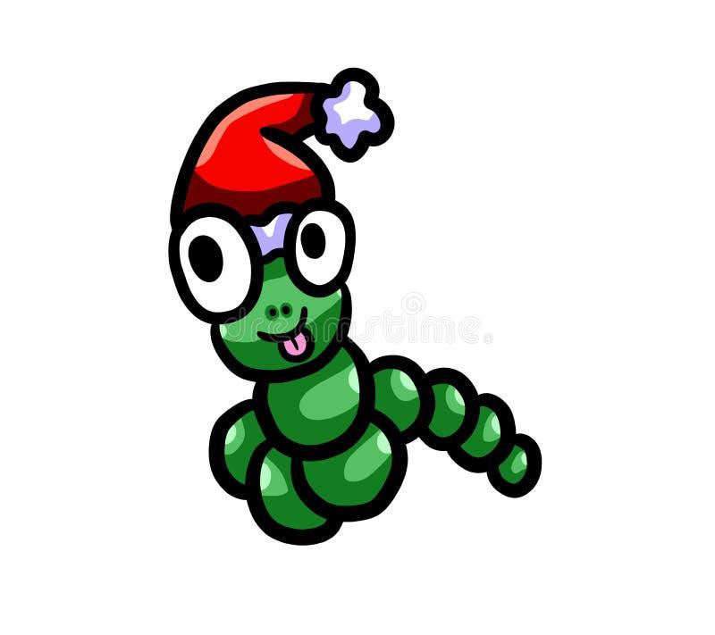 Ευτυχές σκουλήκι Χριστουγέννων απεικόνιση αποθεμάτων