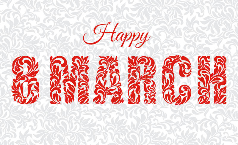 Ευτυχές στις 8 Μαρτίου Διακοσμητική πηγή φιαγμένη από στροβίλους και floral στοιχείο απεικόνιση αποθεμάτων