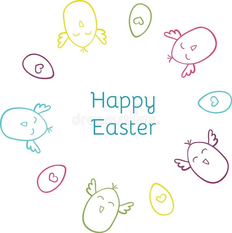 Ευτυχές συρμένο χέρι χαριτωμένο doodle Πάσχας γύρω από το στεφάνι διανυσματική απεικόνιση