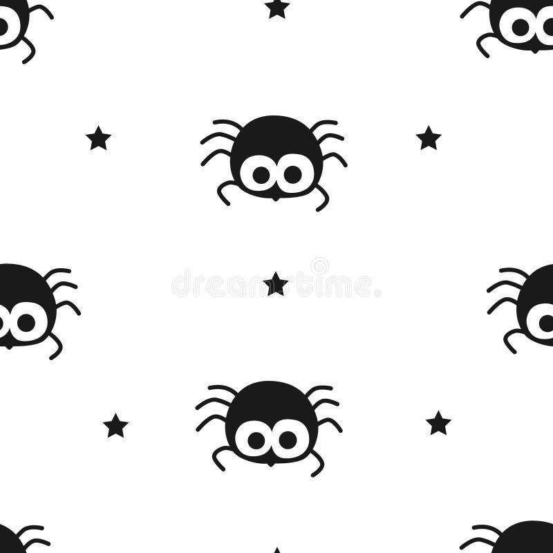 Ευτυχές σχέδιο αποκριών με τη χαριτωμένα αράχνη και τα αστέρια Επίπεδο σχέδιο άνευ ραφής διάνυσμα ανασκό διανυσματική απεικόνιση