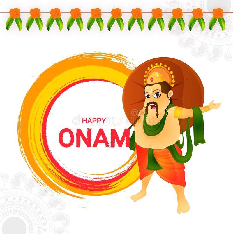 Ευτυχές σχέδιο ευχετήριων καρτών Onam με την απεικόνιση του βασιλιά Mahaba απεικόνιση αποθεμάτων