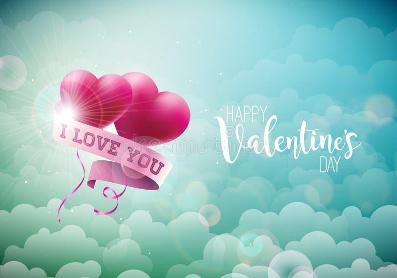 Ευτυχές σχέδιο ημέρας βαλεντίνων με την κόκκινες καρδιά μπαλονιών και την επιστολή τυπογραφίας στο υπόβαθρο ουρανού σύννεφων Διαν απεικόνιση αποθεμάτων