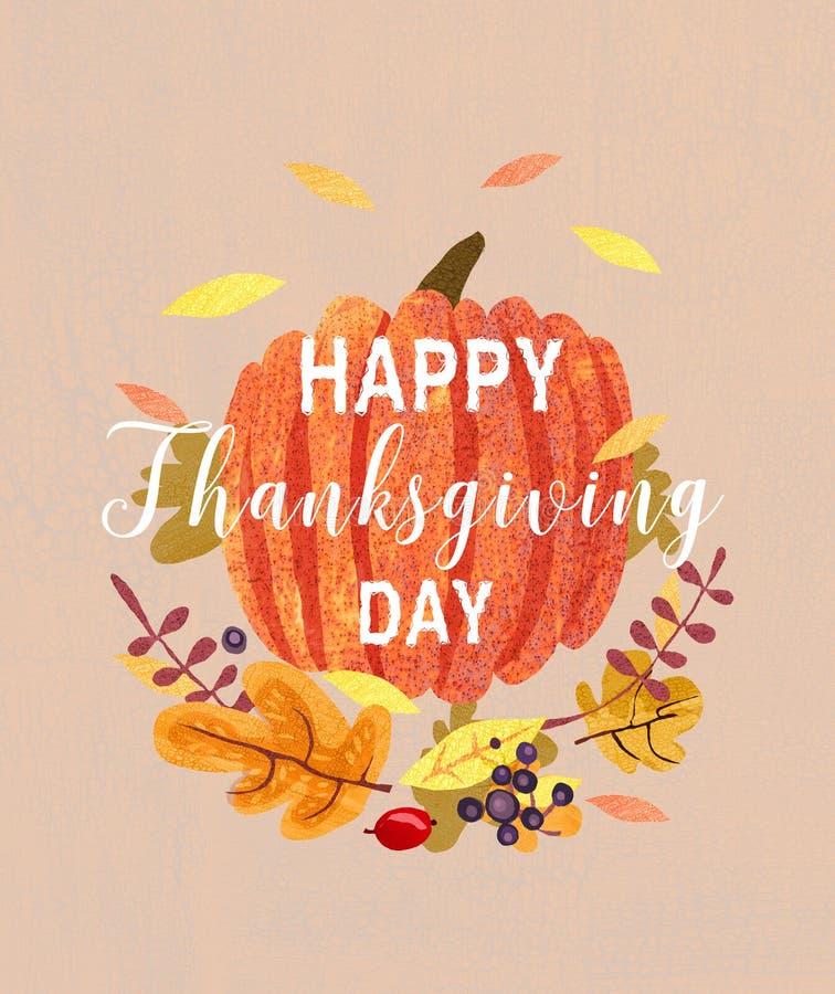 Ευτυχές σχέδιο καρτών ημέρας των ευχαριστιών, διανυσματική απεικόνιση
