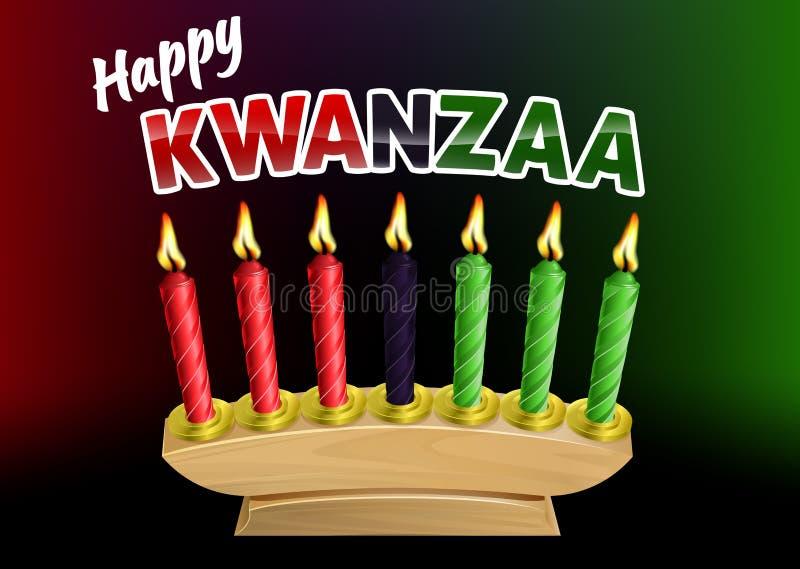Ευτυχές σχέδιο κεριών Kwanzaa διανυσματική απεικόνιση