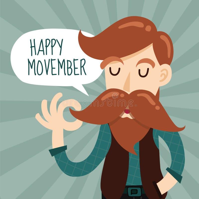 Ευτυχές σχέδιο υποβάθρου γεγονότος φιλανθρωπίας Movember με χαριτωμένο Gentlem ελεύθερη απεικόνιση δικαιώματος