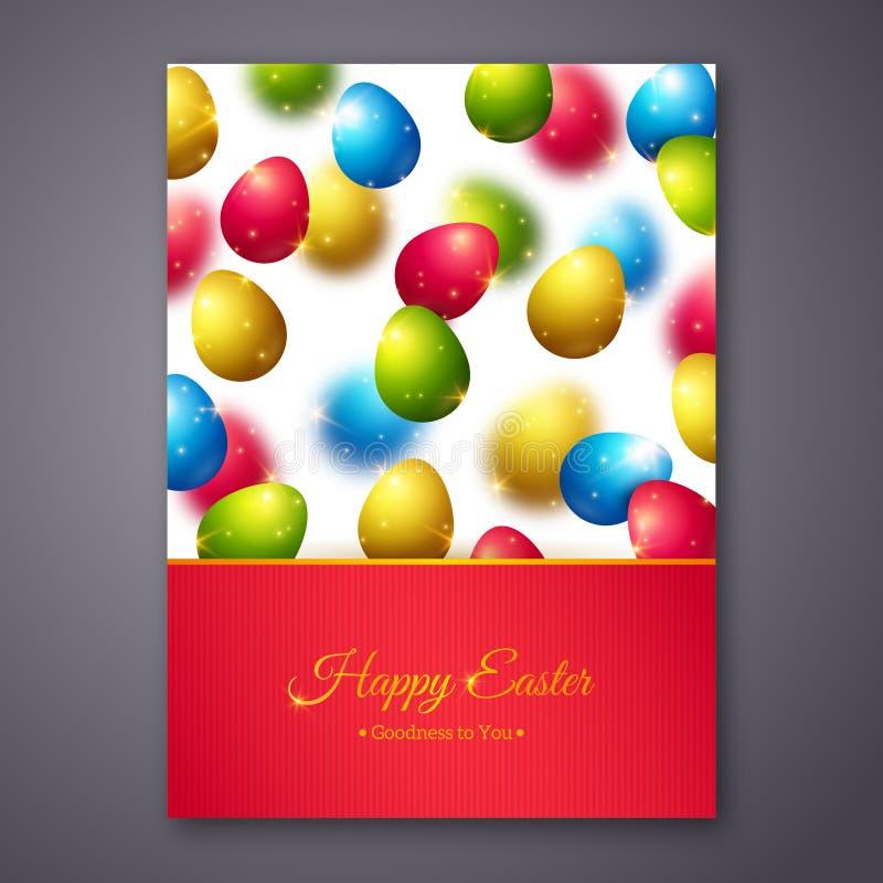 Ευτυχές σχέδιο ευχετήριων καρτών Πάσχας με ζωηρόχρωμο απεικόνιση αποθεμάτων