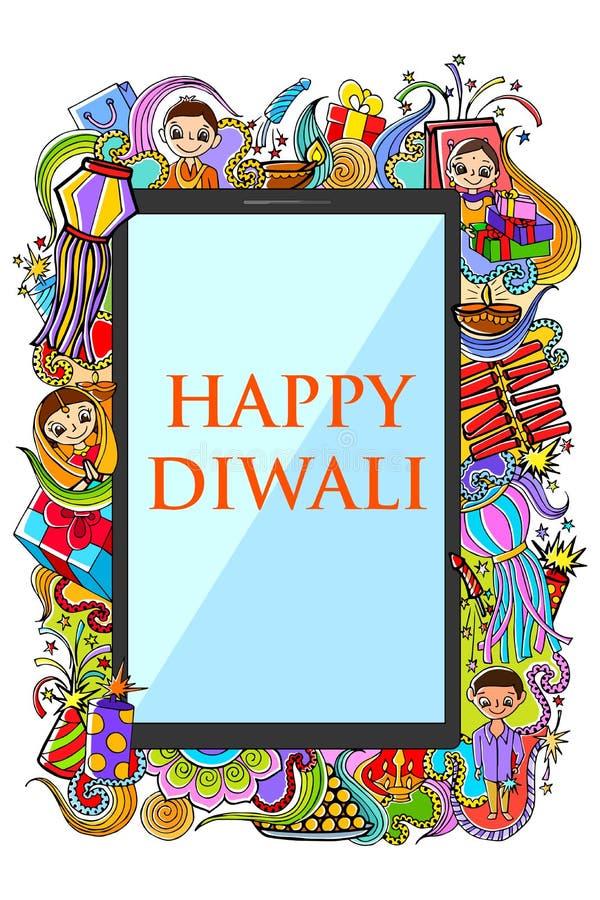Ευτυχές σχέδιο Diwali doodle για την κινητή εφαρμογή ελεύθερη απεικόνιση δικαιώματος