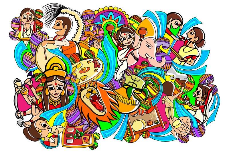 Ευτυχές σχέδιο Durga Puja doodle απεικόνιση αποθεμάτων